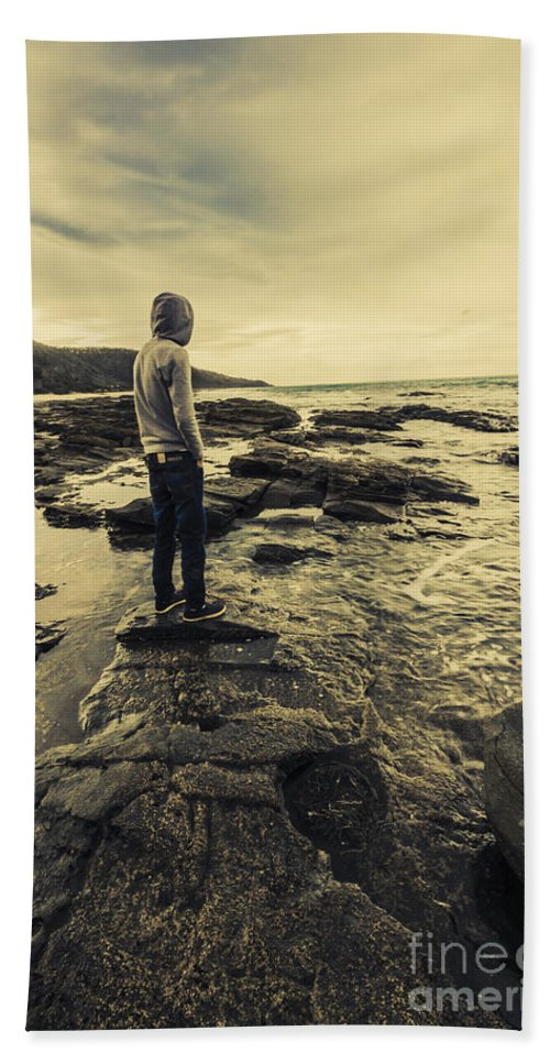 Man Hand Towel featuring the photograph Man Gazing Out On Coastal Rocks by Jorgo Photography - Wall Art Gallery