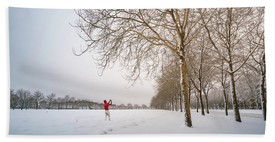 America Hand Towel featuring the photograph Man In Red Taking Picture Of Snowy Field And Trees by William Freebilly photography