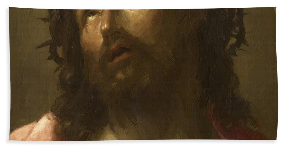 Man Hand Towel featuring the painting Man Of Sorrows by Reni Guido