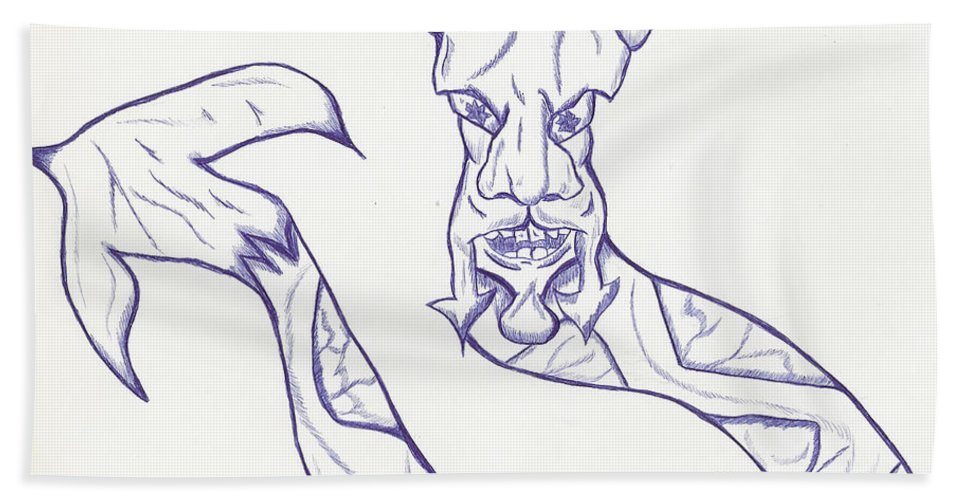 Snake Bath Sheet featuring the drawing Man Snake by Mike Peconge