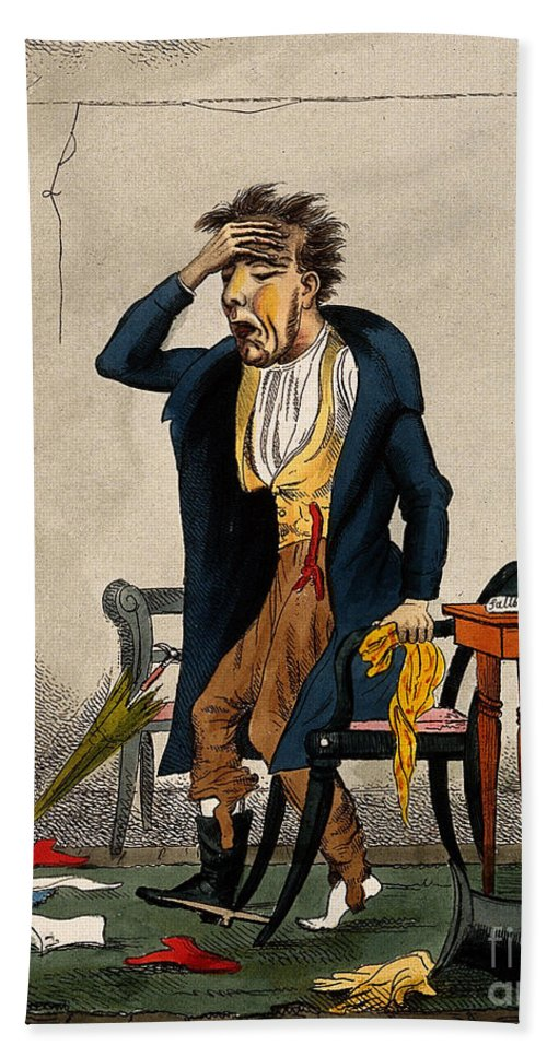 Historic Hand Towel featuring the photograph Man With Excruciating Headache, 1835 by Wellcome Images