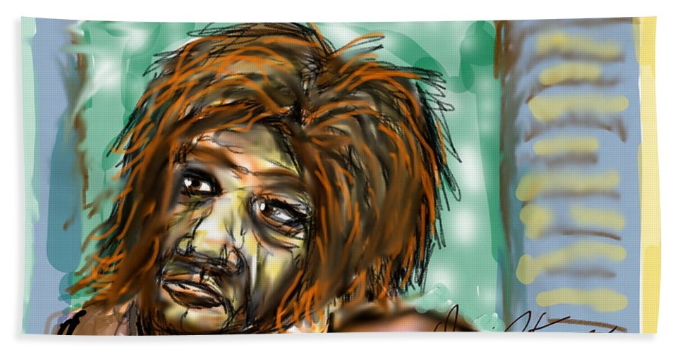 Homeless Unshaven Sick Lost Bath Sheet featuring the digital art Man Without Hope by David R Keith