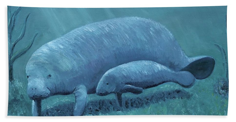Manatee Hand Towel featuring the painting Manatees by Laura Zoellner