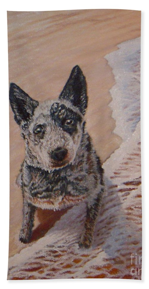 Dog Painting Hand Towel featuring the painting Mancha At The Beach by Guy C Lockwood