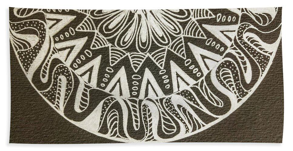 Mandala Bath Sheet featuring the painting Mandala 001 by Faa shie