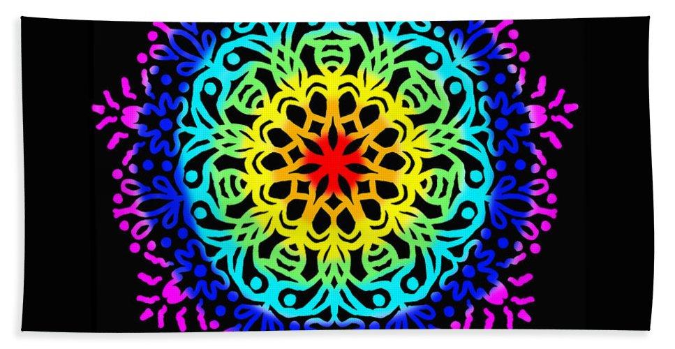 Colorful Bath Sheet featuring the digital art Mandala 7 by Galina Lavrova
