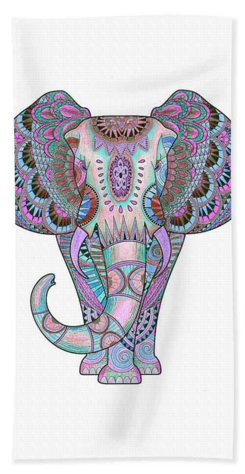 Mandala Hand Towel featuring the drawing Mandala Elephant Indigo by Aye