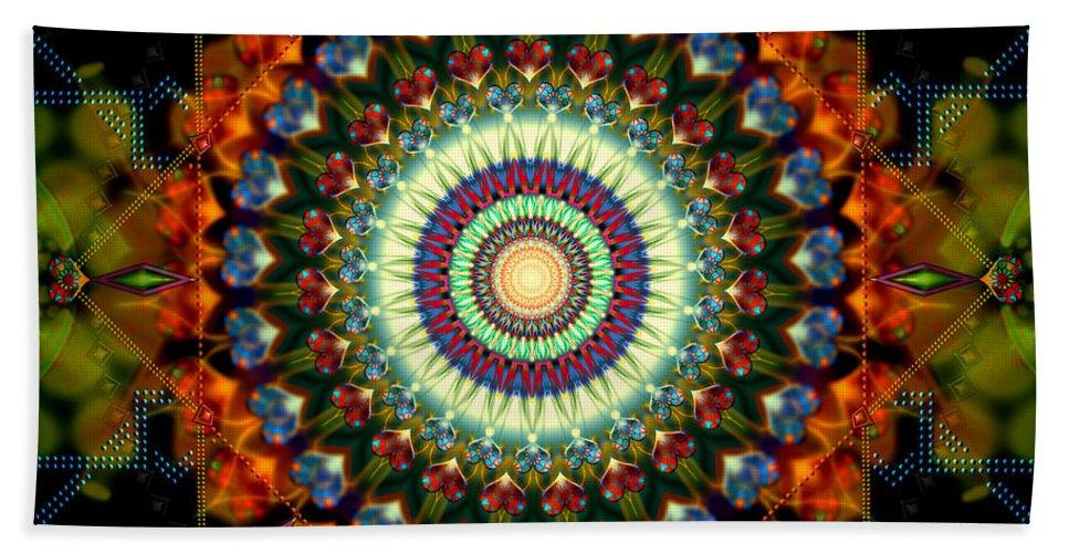 Mandala Bath Sheet featuring the digital art Mandala Of Loves Journey by Stephen Lucas