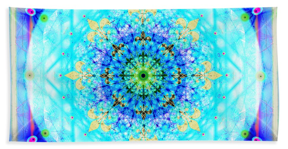 Mandala Bath Sheet featuring the digital art Mandala Of Womans Spiritual Genesis by Stephen Lucas