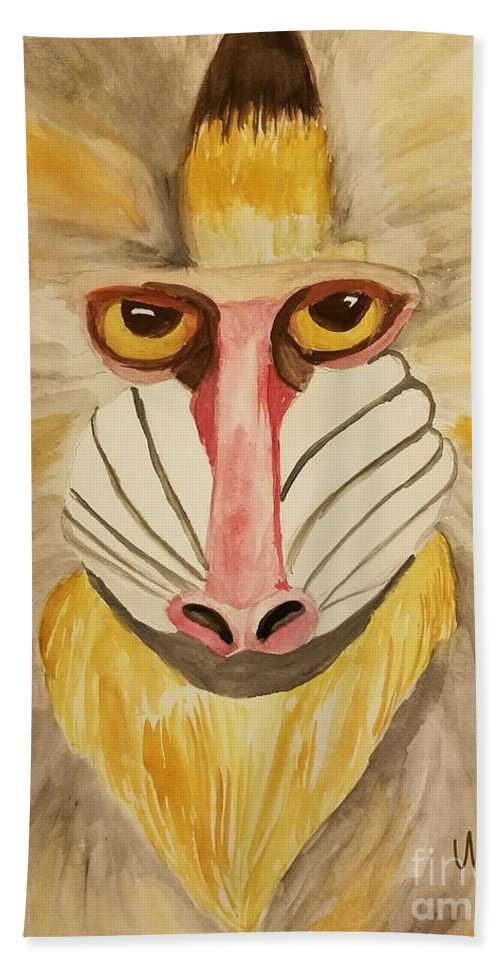Mandrill Monkey Bath Sheet featuring the painting Mandrill Monkey by Maria Urso