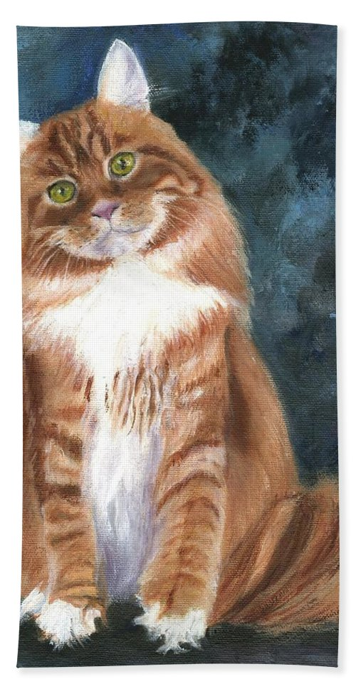 Cat Portraits Bath Sheet featuring the painting Mango Dude by Deborah Butts