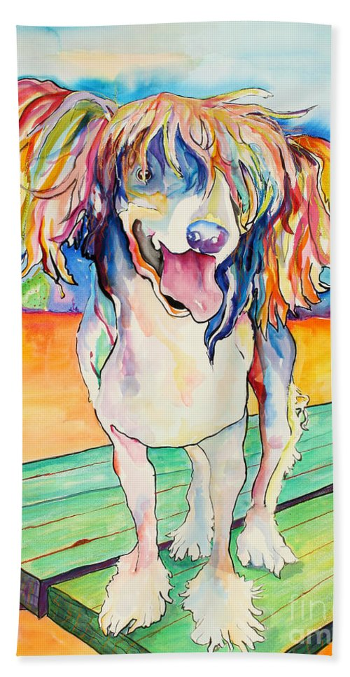 Chinese Crested Bath Towel featuring the painting Mango Salsa by Pat Saunders-White