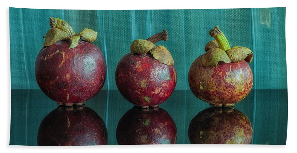 Abstract Bath Sheet featuring the photograph Mangosteens 1 by Jonathan Nguyen