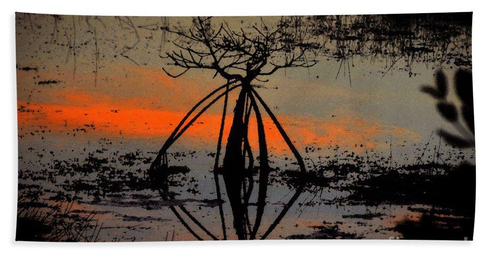 Mangrove Bath Sheet featuring the painting Mangrove Silhouette by David Lee Thompson