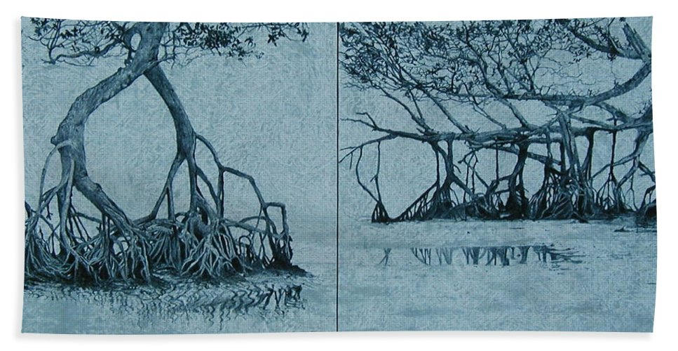 Blue Hand Towel featuring the painting Mangroves by Leah Tomaino