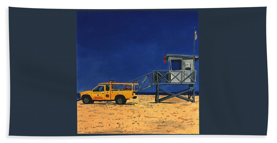 Modern Bath Towel featuring the painting Manhattan Beach Lifeguard Station Side by Lance Headlee