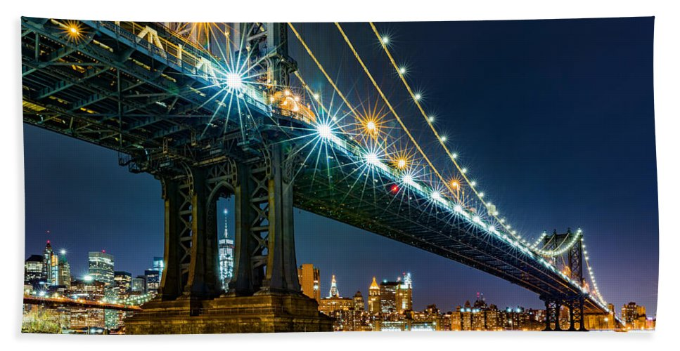 America Hand Towel featuring the photograph Manhattan Bridge Framing Freedom Tower by Mihai Andritoiu