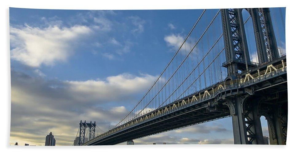 America Hand Towel featuring the photograph Manhattan Bridge by Svetlana Sewell