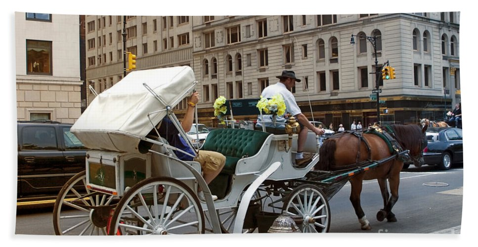Buggy Bath Towel featuring the photograph Manhattan Buggy Ride by Madeline Ellis