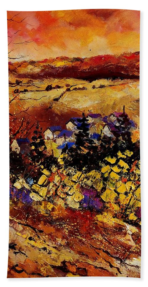 Landscape Hand Towel featuring the painting Manhay 56 by Pol Ledent