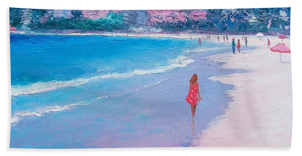 Beach Hand Towel featuring the painting Manly Beach by Jan Matson