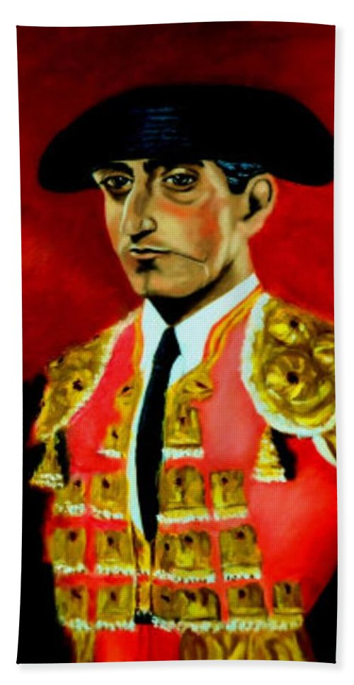 Bullfighter Bath Sheet featuring the painting Manolete by Manuel Sanchez