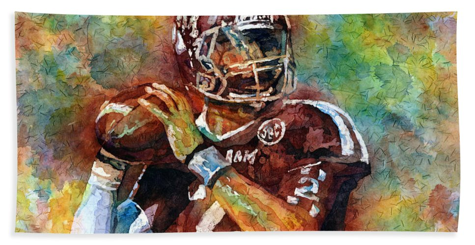 Manziel Hand Towel featuring the painting Manziel by Hailey E Herrera