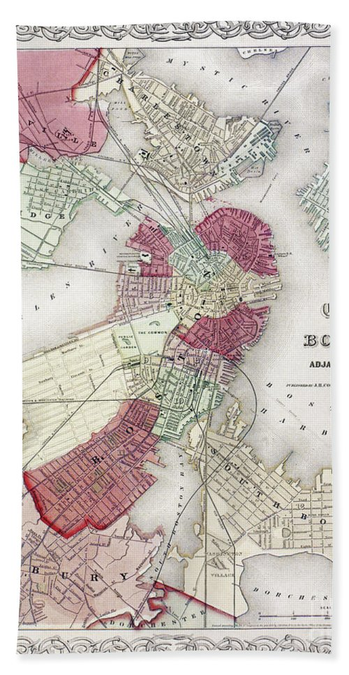 1865 Bath Sheet featuring the photograph Map: Boston, 1865 by Granger