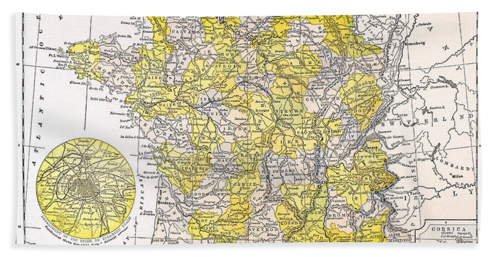 19th Century Hand Towel featuring the photograph Map: France by Granger