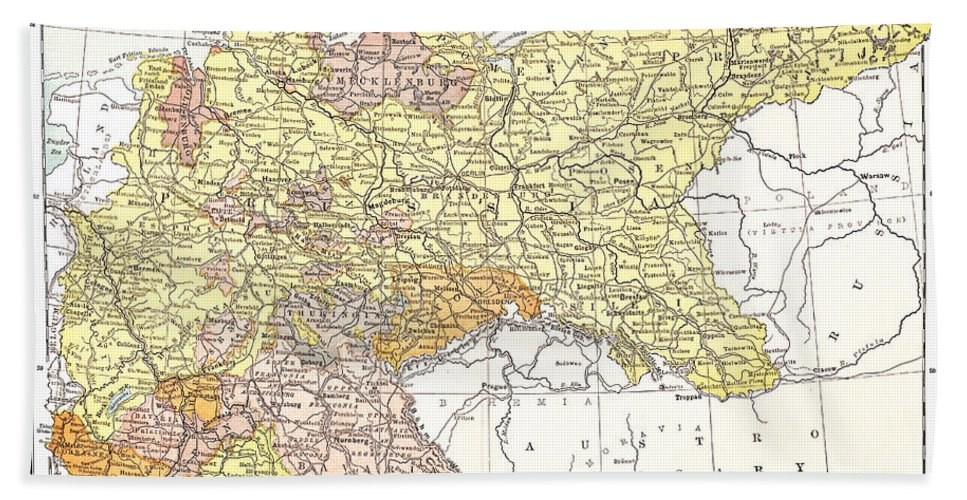 19th Century Hand Towel featuring the photograph Map: German Empire by Granger