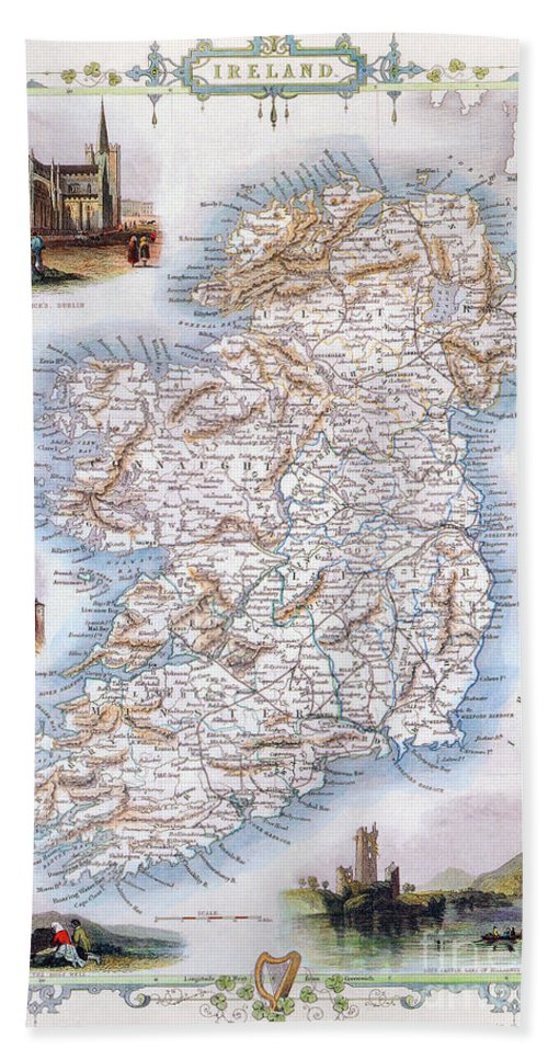 1851 Hand Towel featuring the photograph Map: Ireland, 1851 by Granger
