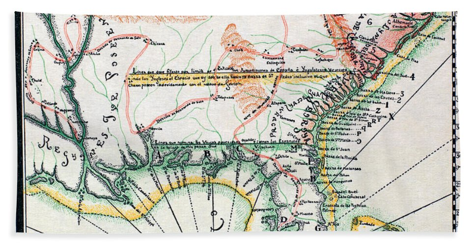 1742 Hand Towel featuring the photograph Map: North America, 1742 by Granger