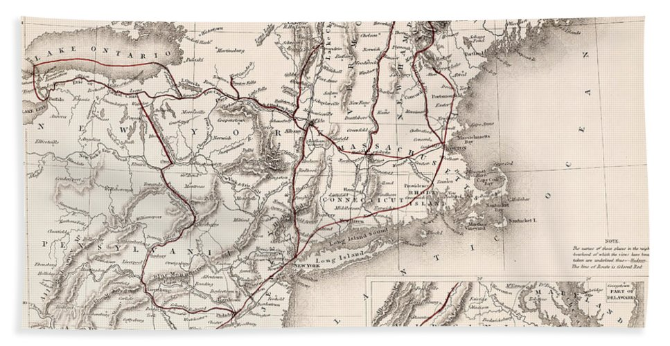 19th Century Hand Towel featuring the photograph Map: Northeast U.s.a by Granger