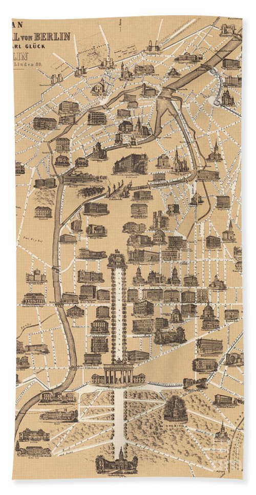 Maps Hand Towel featuring the drawing Map Of Berlin, 1860 by German School