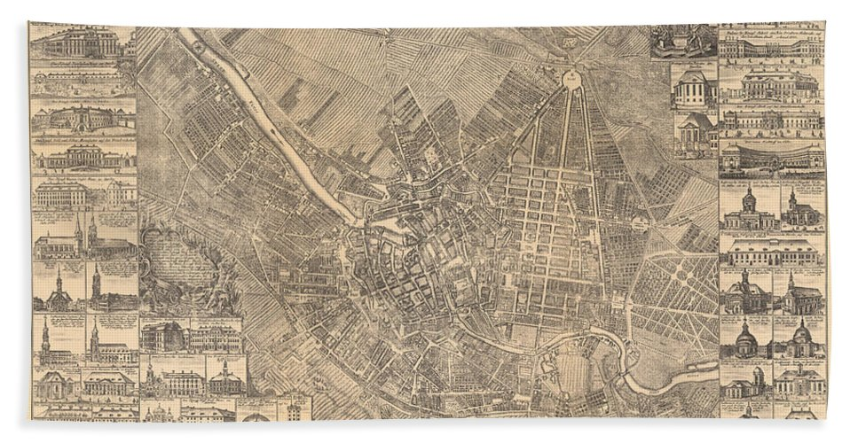 Maps Bath Towel featuring the painting Map Of Berlin Showing Buildings Of Interest, 1773 by Johann David Schleuen