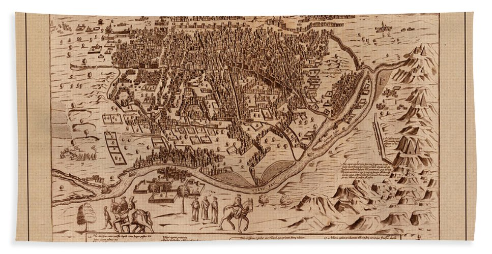 Cairo Hand Towel featuring the photograph Map Of Cairo 1600 by Andrew Fare