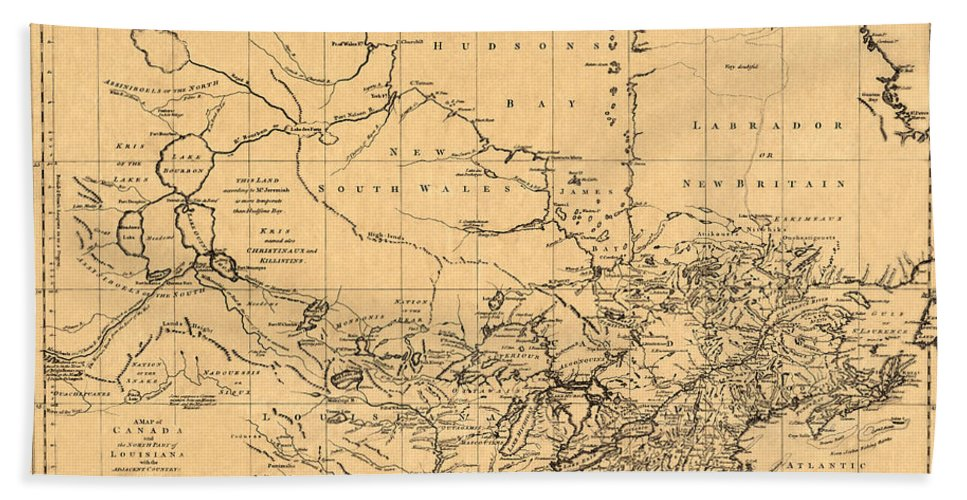 Map Of Canada Bath Sheet featuring the photograph Map Of Canada 1762 by Andrew Fare