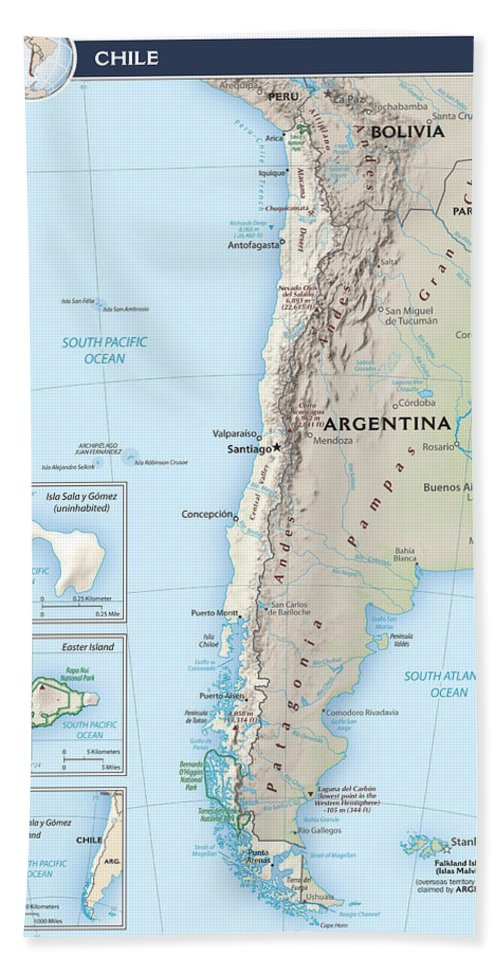 Atlas Hand Towel featuring the mixed media Map Of Chile 2 by Roy Pedersen