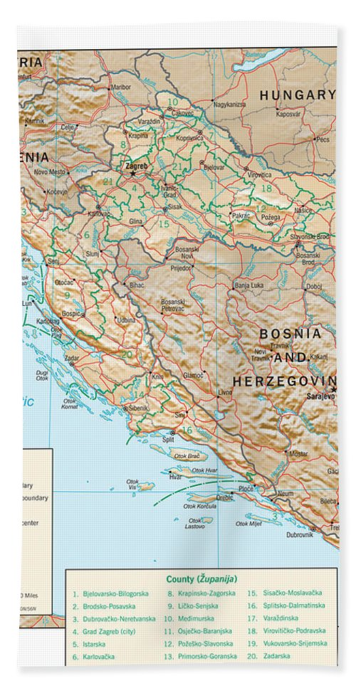 Atlas Bath Sheet featuring the mixed media Map Of Croatia 2 by Roy Pedersen