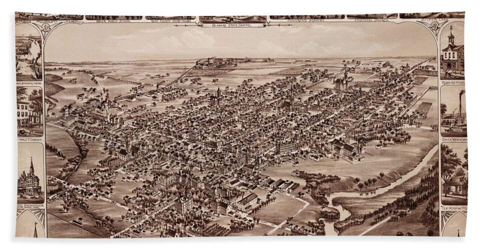 Map Of Dover Hand Towel featuring the photograph Map Of Dover 1885 by Andrew Fare