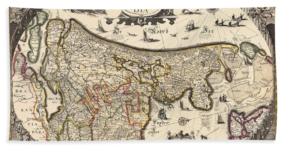 Holland Hand Towel featuring the photograph Map Of Holland 1630 by Andrew Fare