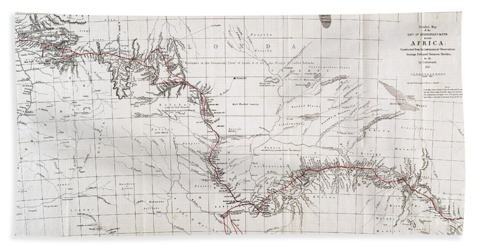 Historic Hand Towel featuring the photograph Map Of Livingstones Route Across by Wellcome Images