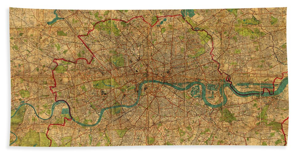 Map Of London Hand Towel featuring the mixed media Map Of London England United Kingdom Vintage Street Map Schematic Circa 1899 On Old Worn Parchment by Design Turnpike
