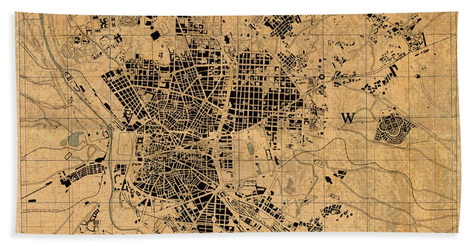 Map Of Madrid Hand Towel featuring the mixed media Map Of Madrid Spain Vintage Street Map Schematic Circa 1943 On Old Worn Parchment by Design Turnpike