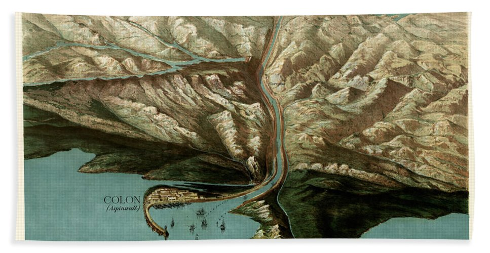 Map Of Panama Canal Hand Towel featuring the photograph Map Of Panama Canal 1881 by Andrew Fare