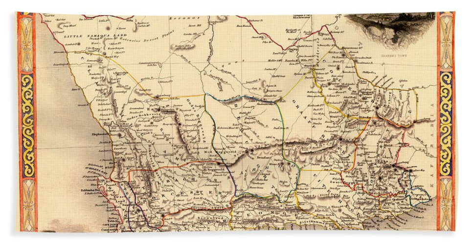 Map Of Africa 1850.Map Of South Africa 1850 Hand Towel For Sale By Andrew Fare