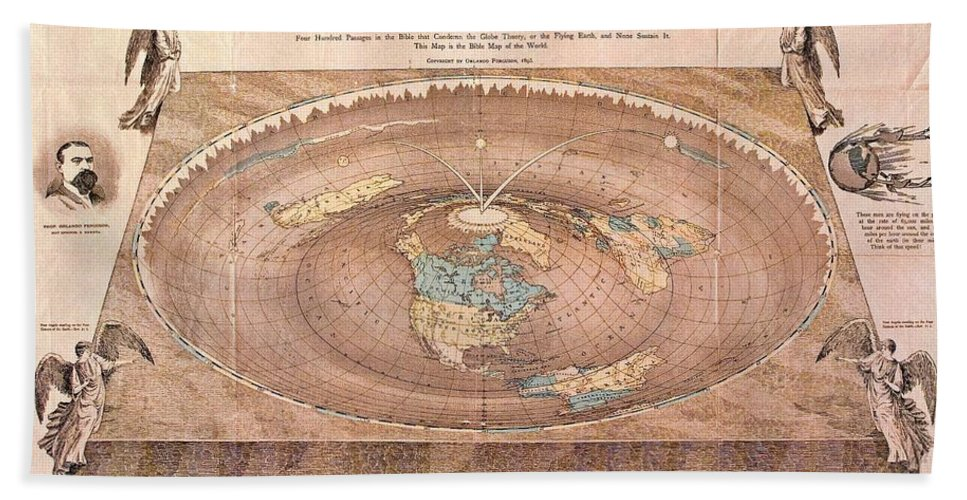 Map Of The Flat Earth Bath Sheet featuring the photograph Map Of The Flat Earth by Pd