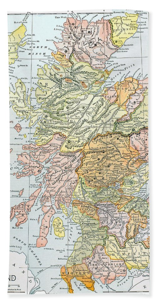 19th Century Hand Towel featuring the photograph Map: Scotland by Granger