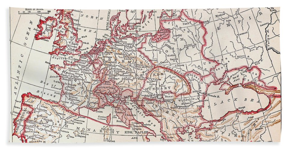 Engraving Hand Towel featuring the photograph Map: Thirty Years War by Granger