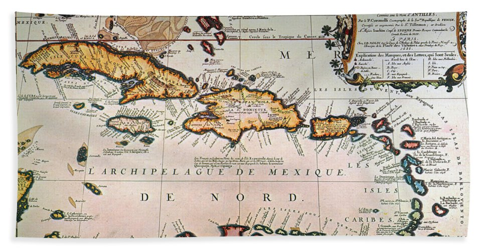1688 Hand Towel featuring the photograph Map: West Indies by Granger
